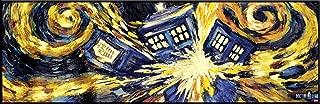 Doctor Who Exploding Tardis TV Show Poster (Van Gogh's Exploding Tardis) Framed Poster Print 12x36