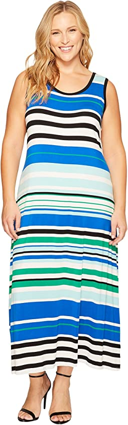 Plus Size Sleeveless Striped Maxi