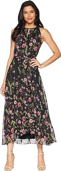 Tahari by ASL Floral Chiffon Keyhole Sleeveless Midi Dress