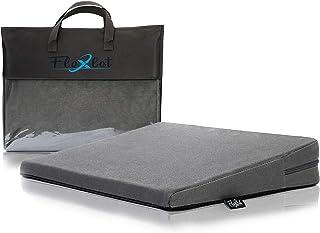 Flexlet ® Cojín cuña – varios grados de dureza para tu peso corporal, funda 100% de algodón, incluye bolsa de transporte, color gris oscuro – cuña de asiento [90 – 120 kg]