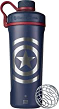 BlenderBottle Marvel Radian Shaker Cup Insulated Stainless Steel Water Bottle with Wire Whisk, 26-Ounce, Captain America S...