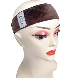 GEX Beauty Flexible Velvet Wig Grip Scarf Head Hair Band Wig Band Adjustable Fastern (Brown)