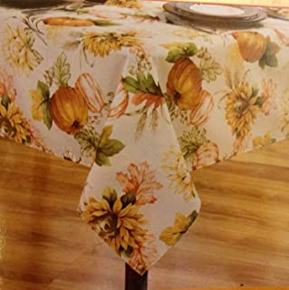 Holiday at Home Table Linens Fabric Tablecloth 60x84 Oblong -Sunflower Harvest