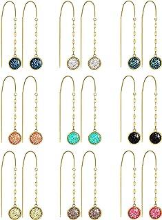 9 Pairs Faux Druzy Threader Earrings Crystal Chain Dangle Earrings Colorful Druzy Drop Earrings Resin Long Tassel Threader...