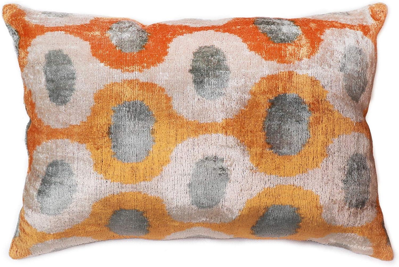 ikat cushion silk ikat pillow orange chevron pillow