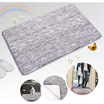"Indoor Doormat Front Door Mat Non Slip Rubber Backing Super Absorbent Mud and Snow Magic Inside Dirts Trapper Mats Entrance Door Rug Shoes Scraper Machine Washable Rug Carpet - Grey, 20""x 32"""