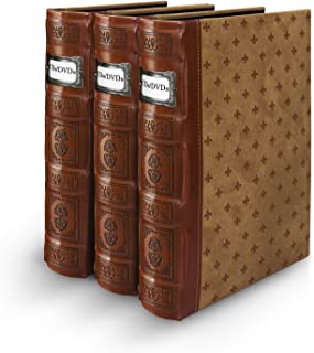 Bellagio-Italia Tuscany Cognac DVD Storage Binder Set - Stores Up to 144 DVDs, CDs, or Blu-Rays - Stores DVD Cover Art - Acid-Free Sheets