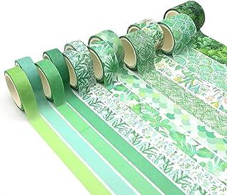 Ruban Adhésif Washi, 12 Rouleaux Adhésif Papier Décoratif Masking Tape, Vert Washi Tape pour Bullet, Journal, Planning, Ca...