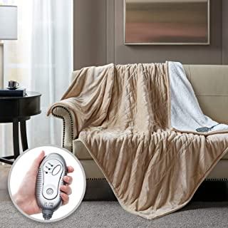 Hyde Lane Sherpa Heated Blanket - Beige   Luxury 60x70 Oversized Plush Therapedic Electric Throw   Extra Cozy & Soft   3 H...