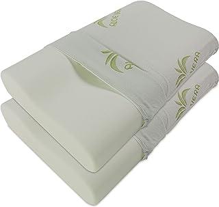 Baldiflex Pack de 2 Almohadas Viscoelástica, Cervical de Cama, Ergonómico Terapéutico Reduce Dolores Cervicales, Funda de Aloe Vera Extraíble y Lavable
