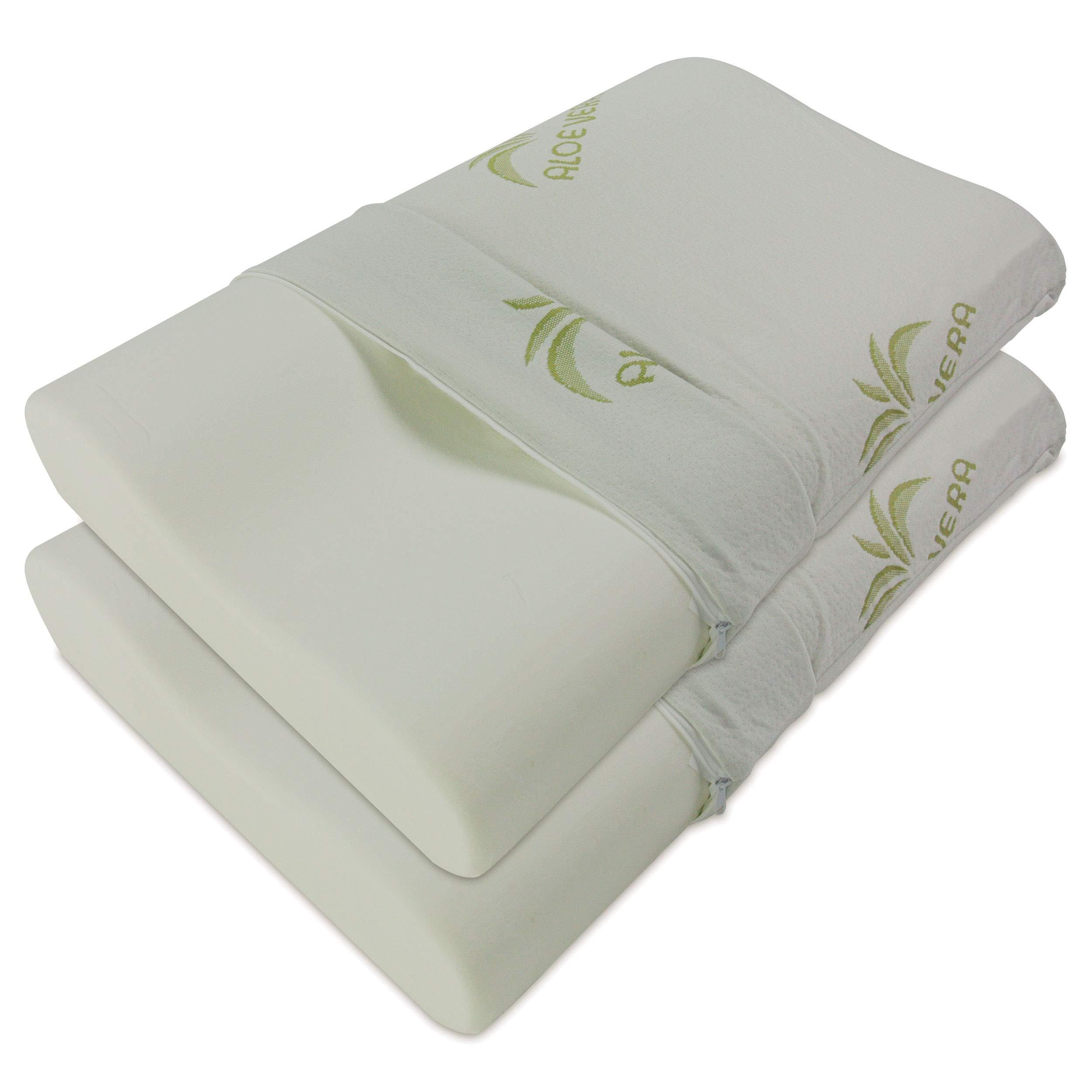 Baldiflex Pack de 2 Almohadas Viscoelástica, Cervical de Cama, Ergonómico Terapéutico Reduce Dolores Cervicales, Funda de Aloe Vera Extraíble y Lavable: Amazon.es: Hogar