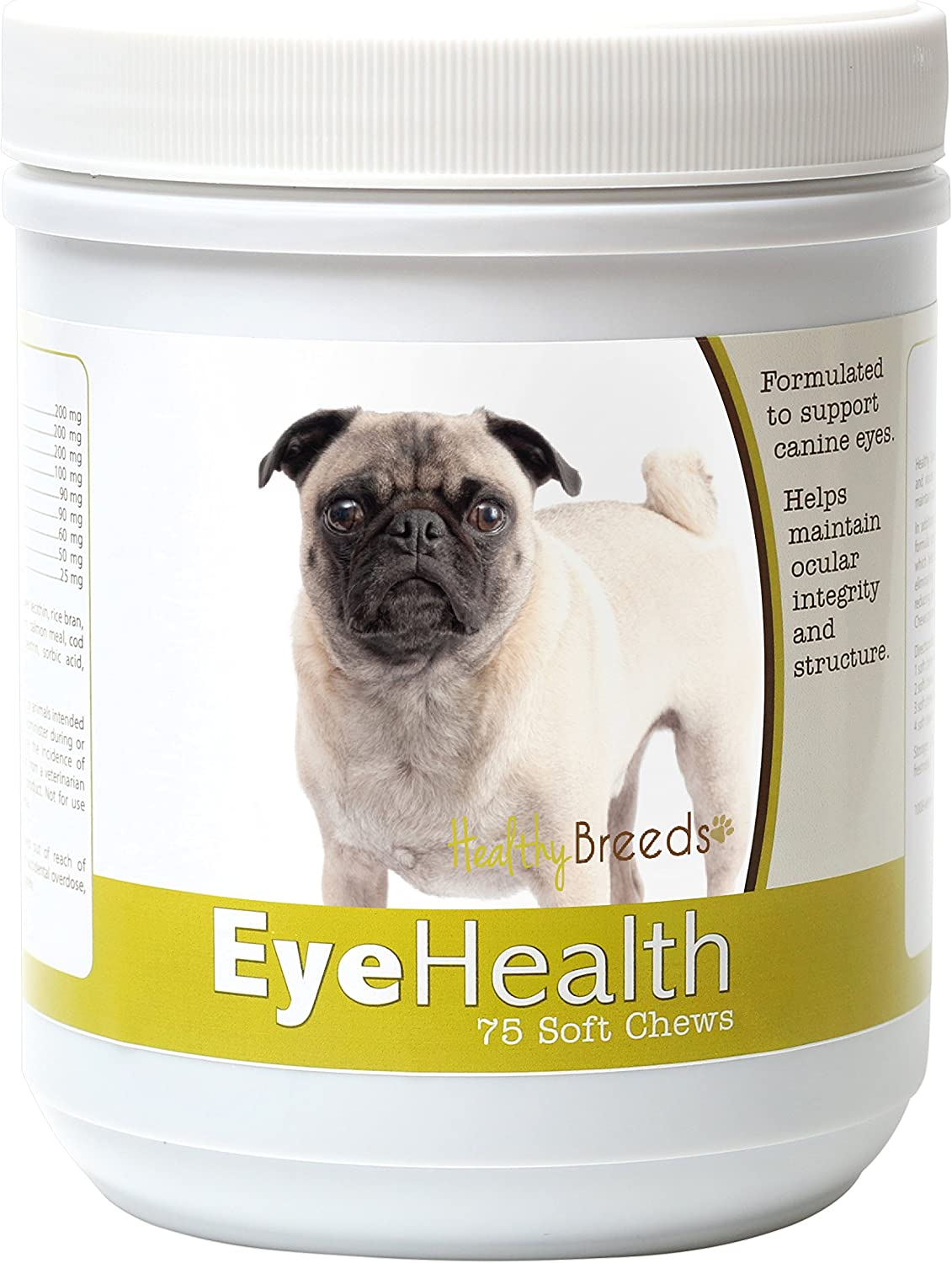Healthy Breeds Dog Eye Care Support for Pug – Over 80 Breeds – Ocular Strength Soft Chew Supplement – 75 Count