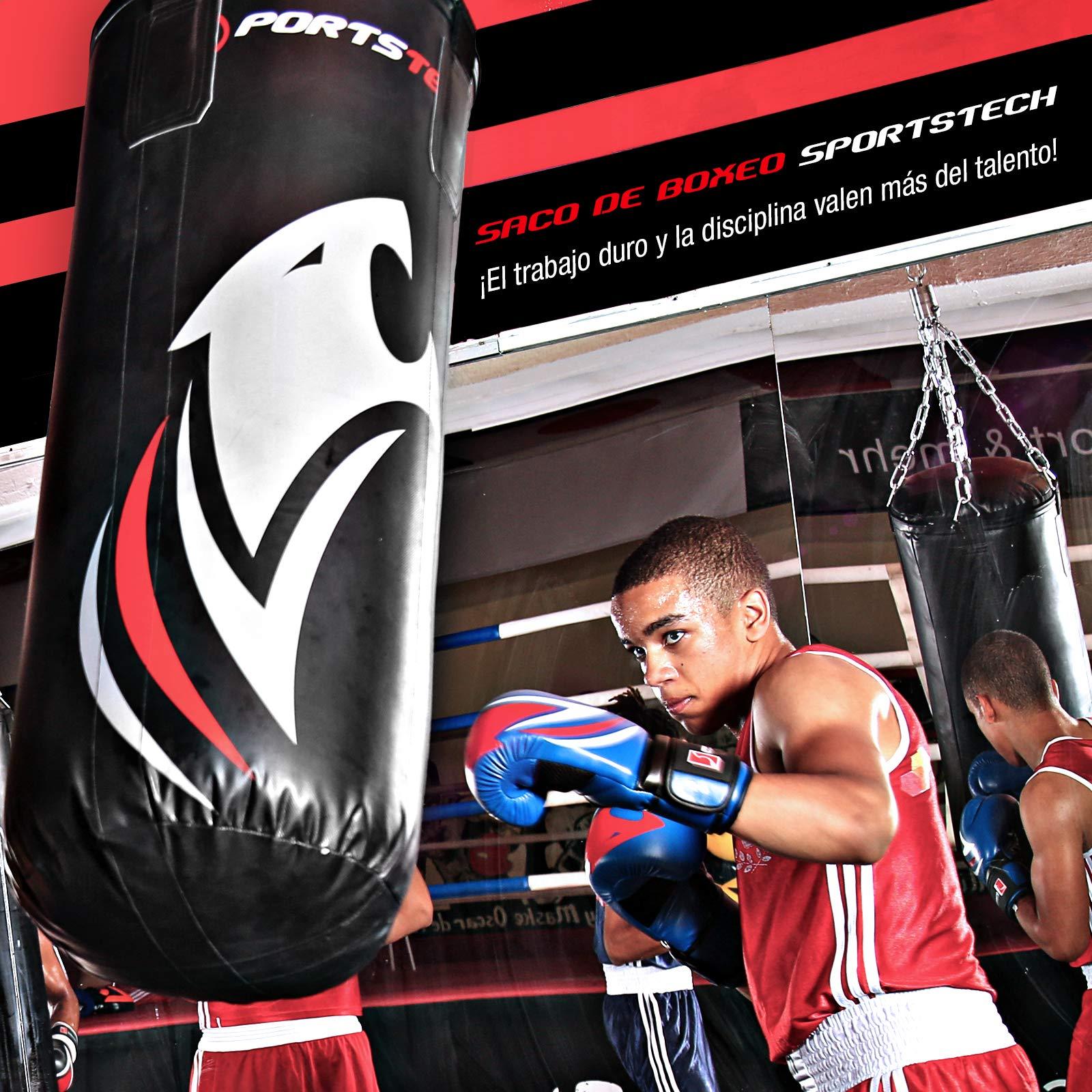 Sportstech Saco de Boxeo Profesional.Fijación de 360 Incluye póster de Entrenamiento;Nuestro BXP está Recomendado por la Asociación de Boxeo de Berlín,Ideal para Kick Boxing y Boxeo (100x40cm): Amazon.es: Deportes y aire libre