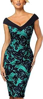 HOMEYEE Women's V-Neck Sleeveless Floral Pencil Dress B425