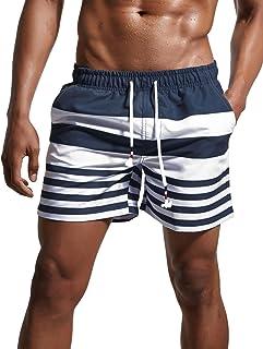 ChinFun Men`s Swimsuit Swim Trunks Watershort Swimwear Stripes Board Shorts Bathing Suits Side Pockets