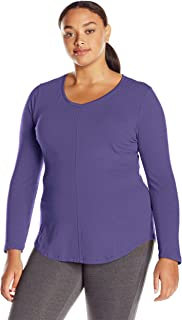 Just My Size Women's Plus-Size Long Sleeve V-Neck Tee