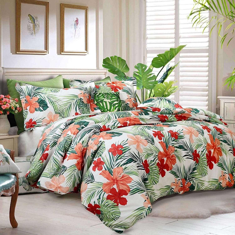 FADFAY Dorm Bedding Set Twin XL Collection Premium 100% Cotton Tropical College Room 3-Piece:1Duvet Cover & 2Pillowcases