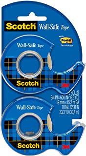 Scotch Wall-Safe Tape, Repositionable, Matte Finish, Trusted Favorite, Engineered for Office and Home Use, 3/4 x 600 Inche...