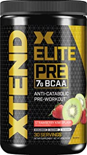 XTEND Elite Pre BCAA Powder Anti-Catabolic Pre Workout Drink with Branched Chain Amino Acids BCAAs, Strawberry Kiwi Splash...
