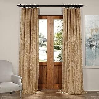 JQCH-20122011-108 Magdelena Faux Silk Jacquard Curtain,Beige & Gold,50 X 108