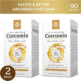 Solgar Full Spectrum Curcumin Liquid Extract Softgels, 2 Pack - 90 Count Each - Faster Absorption - Brain, Joint & Immune Health - Non-GMO, Gluten-Free, Dairy-Free, Soy-Free - 180 Servings