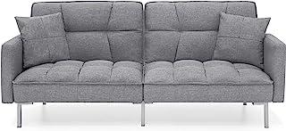 Best Choice Products Convertible Linen Fabric Tufted Split-Back Plush Futon Sofa Furniture for Living Room, Apartment, Bon...