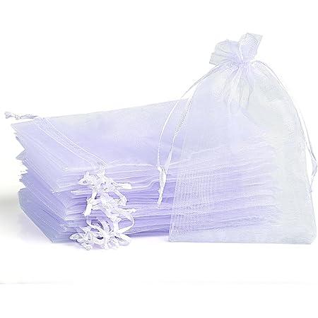 Naler Sachets Pochettes Sacs Organza Noël Poche de Cadeau Mariage Bijoux Blanc 7 * 9cm