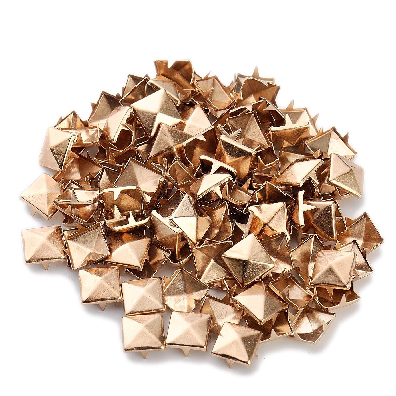 100pcs Punk Colors Metal Square Pyramid Rivet Cone Studs Nailhead Craft Spike DIY 10mm 3/8
