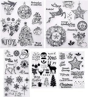 6 Feuilles Timbres Clairs À Thème Noël Tampons Transparents en Silicone de Style Différent avec Motif Flocon de Neige Sant...