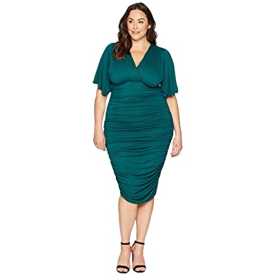 Kiyonna Rumor Ruched Dress (Green Ivy) Women