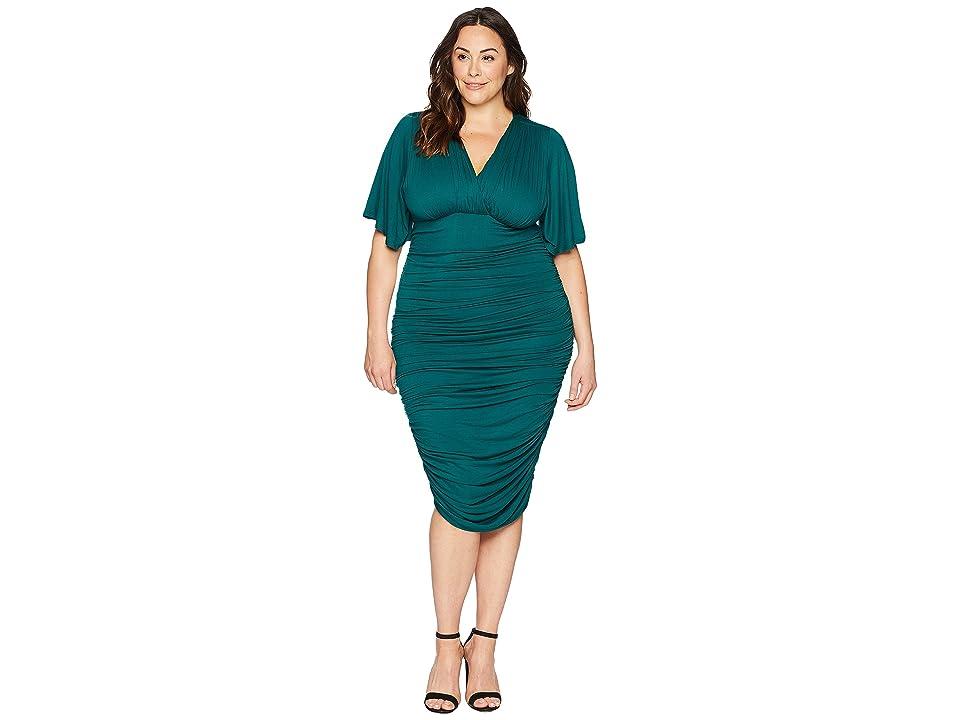 Kiyonna Rumor Ruched Dress (Green Ivy) Women