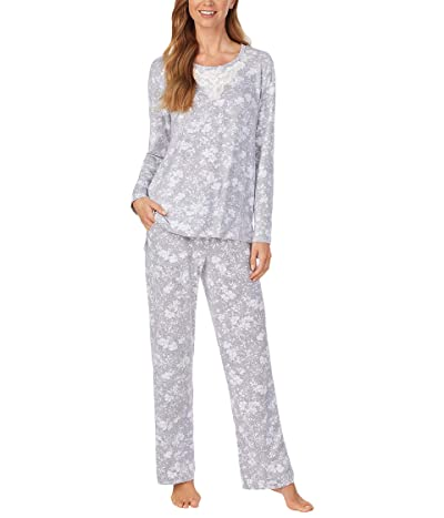 Carole Hochman Soft Sweater Knit Pajama Set (Grey/White Floral) Women