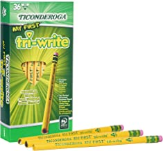 TICONDEROGA My First Tri-Write Pencils with Eraser, Primary Size Wood-Cased #2 HB Soft, Yellow, 36-Pack (13082)