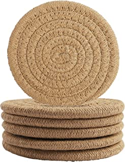 6 Pcs Coffee Color Drink Coasters, Round Woven Coaster Water absorption Woven Beverage Coaster Heat-Resistant Coaster Coff...