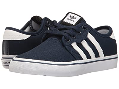 adidas Skateboarding Seeley J (Little Kid/Big Kid) (Collegiate Navy/White/Collegiate Navy) Skate Shoes
