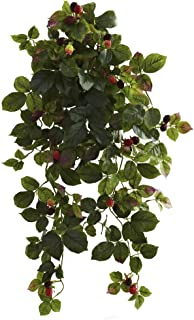 """Nearly Natural 6116-S2 32"""" Raspberry Hanging Bush with Berry (Set of 2)"""