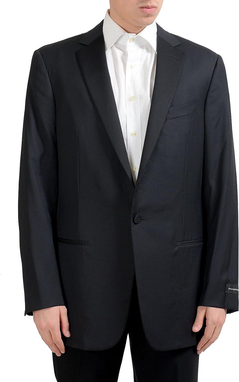 Ermenegildo Zegna Men's 100% Wool One Button Blazer Sport Coat US 44L IT 54L Black