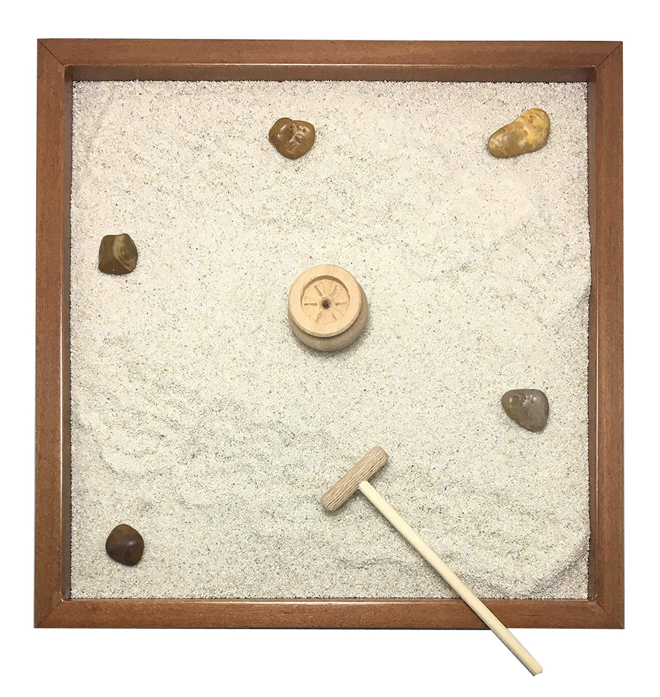 LaNotebook - Jardín Zen de mesa - Medidas 25 x 25 x 2 cm - Realizado en preciosa madera maciza de nogal - Fabricación artesanal - Hecho a mano - Producto de calidad: Amazon.es: Hogar