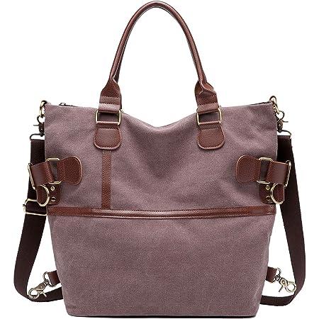Myhozee Canvas Damen Handtasche/Umhängetasche Schultertasche Vintage Taschen Multifunktionale Groß Hobo Bag für Schule Lässige Reisen, Kaffee