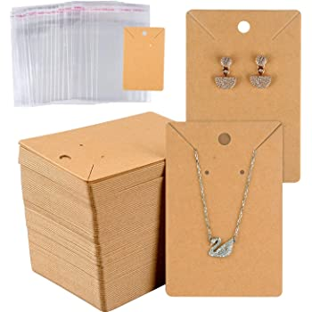 200Pcs//Set Jewelry Necklace Bracelet Hanging Holder Jewerly Display Paper Cards
