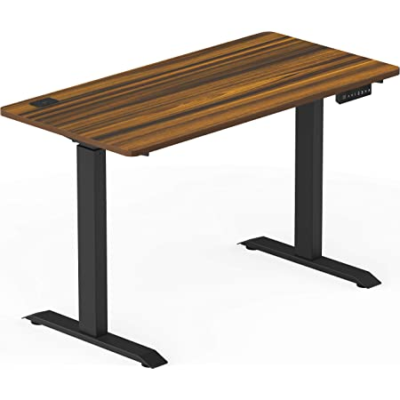 SHW Electric Height Adjustable Standing Desk, 48 x 24 Inches, Walnut