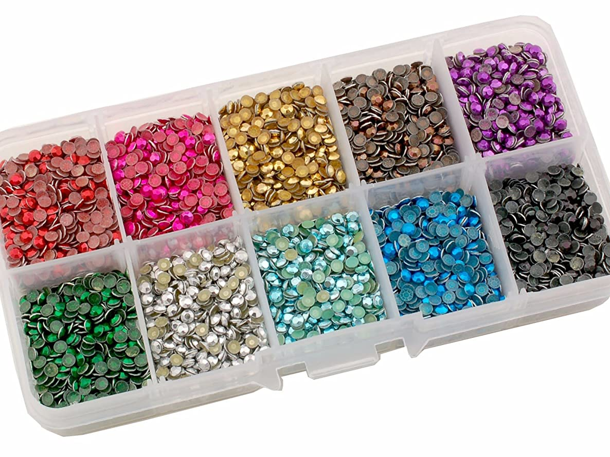 Summer-Ray SS10 2.8mm Assorted Color Hot Fix Rhinestuds In Storage Box