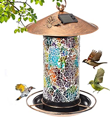 Eeauld Wild Bird Feeder Hanging for Garden Yard Outside Decoration, Waterproof Solar Bird Feeders for Outside Hanging Outdoor- Solar Powered Lights Bird Feeder with Hook
