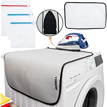 Ironing Mat Travel Folding Pad - Magnetic Heat Resistant Ironing Blanket Compact Portable Iron Board with Silicone Pad Protective Pressing Mesh Cloth and Laundry Bags for Clothes Table Top Countertops