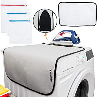 """Ironing Mat Travel Folding Pad - Magnetic Heat Resistant Ironing Blanket Compact Portable Iron Board with Silicone Pad Protective Pressing Mesh Cloth and Laundry Bags for Clothes Table Top 27""""19"""""""