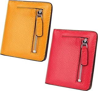 AINIMOER Women Leather Wallet RFID Blocking Small Mini Bifold Zipper Pocket Card Case Yellow and Red