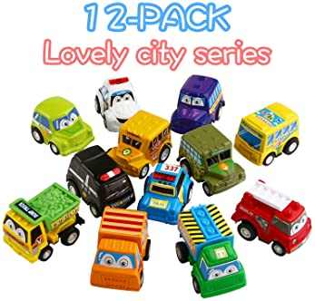 Funcorn Toys Pull Back Car, 12 Pack Assorted Mini Plastic Vehicle Set, Pull Back Truck and Car Toys for Boys Kids Chi...