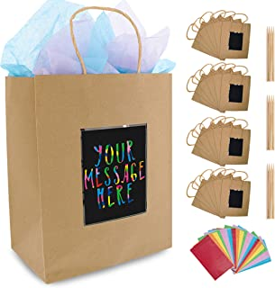 24 Brown Kraft Paper Gift Bags with Scratch Paper Panel for Customization, Tissue Paper Included! Unique Bulk Paper Bags with Handles are Great as Small Gift Bags, Party Favor Bags & Kraft Paper Bags