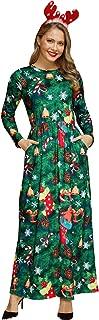 Women Christmas Long Sleeve Printed Maxi Dress