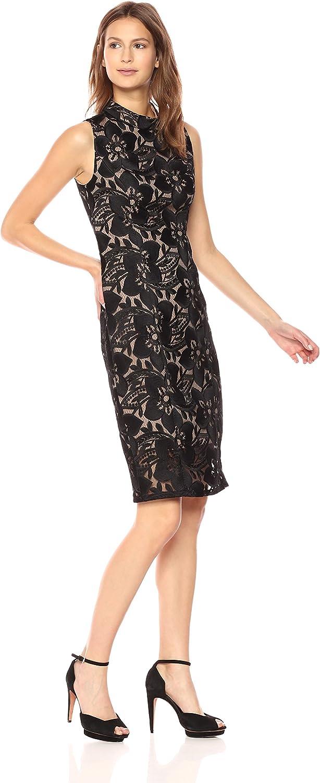 Adrianna Papell Womens Lace Mock Neck Sheath Dress